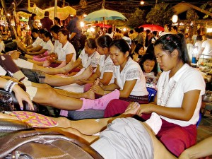 Thai massage at the Chiang Mai Night Market.